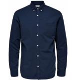 Selected Homme Heren overhemd oceaan blauw oxford button-down regular fit