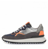Floris van Bommel Artikelnummer 16301/20 Blauwe sneaker met oranje en zilveren details