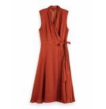 Scotch & Soda 160410 0013 scotch en soda sleeveless midi length wrap dress with tie copper