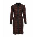 Zip73 133-03-07 jurk koord print bruin-zwart