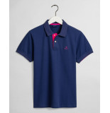 Gant Poloshirt persian blue pique rood contrast rugger regular fit