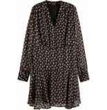 Maison Scotch Floral printed dress in sheer strip