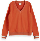Maison Scotch V-neck sweat with ribs ginger