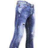 True Rise Skinny jeans paint drops broek