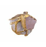 Christian Zilveren ring met rozenkwarts