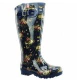 Wide Wellies Regenlaars flowers blauw kuitmaat xxl-schoenmaat 38