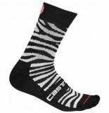 Castelli Fietssok women safari 15 sock zebra black white-schoenmaat 35 38