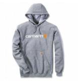 Carhartt Trui men signature logo hooded sweatshirt heather grey-s