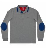 SUN68 Polo men el big stripe on collar l/s grigio medio-s