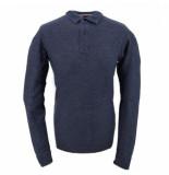 SUN68 Polo men bicolor fabric elbow l/s navy blue grigio medio-s