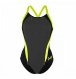 Michael Phelps Badpak women kalista black bright yellow-maat 42