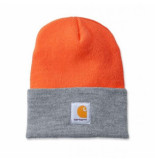 Carhartt Muts men acrylic watch hat bright orange grey