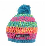 Poederbaas Muts short colourful light blue neon pink