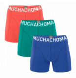 Muchachomalo Boxershort men solid blue fresh green coral red (3-delig)-s