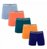 Muchachomalo Boxershort men light cotton solid placid blue light pink petrol papaya cobalt (5-delig)-s