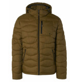 No Excess Jacket hooded padded wavy quilted moss