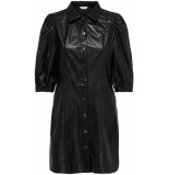 Only Rilla puff faux leather dress black