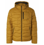 No Excess Jacket hooded padded wavy quilted gold