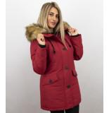 Adrexx Winterjassen met bontkraag uitverkoop rode parka