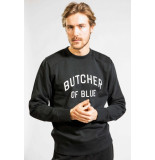 Butcher of Blue Peck line off black sweater -