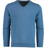 Bos Bright Blue Vince v-neck pullover flat kn 20305vi01bo/268 jeans blue