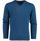 Bos Bright Blue Vince v-neck pullover flat kn 20305vi01bo/247 cobalt