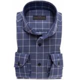 John Miller Heren overhemd donker geruit cutaway tailored fit