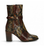 Fred de la Bretoniere Women ankle boot shiny croco printed leather brown multi-schoenmaat 37