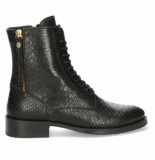 Fred de la Bretoniere Women ankle boot lace up zipper outside croco print black-schoenmaat 37