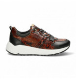 Fred de la Bretoniere Women sneaker kroko printed leather cognac-schoenmaat 37