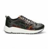 Fred de la Bretoniere Women sneaker kroko printed leather dark green-schoenmaat 37