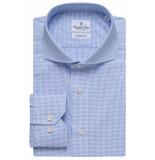 Emanuel Berg Heren overhemd fijn geruit poplin cutaway modern fit