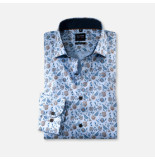 Olymp 213864 27 level 5 overhemd licht blauw met print -