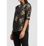 InWear 1901369-024 shiny high neck top with longer back and floral print