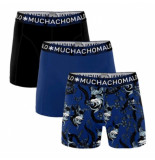 Muchachomalo Boxershorts 3-pack print-blue-black -