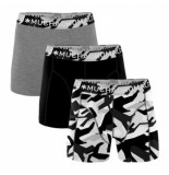 Muchachomalo Boxershorts 3-pack solid print-black-grey -