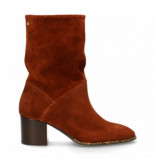 Fred de la Bretoniere Women ankle boot waxed suede brique brown-schoenmaat 38