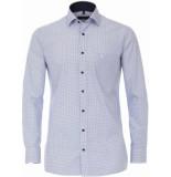 Casamoda Heren overhemd met blauwe all-over print kent comfort fit