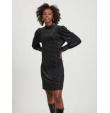 Object 23033965 black dress jurk met opstaande kraag -
