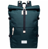 Sandqvist Rugzak bernt dark green with natural leather