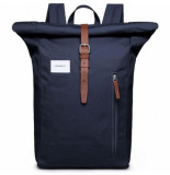 Sandqvist Rugzak dante navy with cognac brown leather
