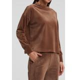 YAYA 1009341-023 rib velvet mock neck sweatshirt