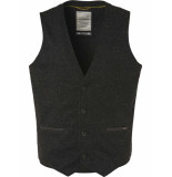 No Excess Gilet, knitted melange with neps black