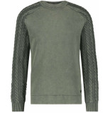 Purewhite Sweat with knit green