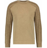 Purewhite Sweat with knit sand