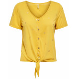 Only Onlisabella s/s foil top jrs spicy mustard/gold f