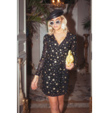 Colourful Rebel 9267 holly stars fake wrap dress black/ gold -