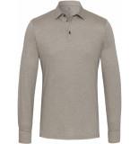Desoto Poloshirt licht jersey lange mouwen effen slim fit