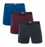 Muchachomalo Boxershorts men solid navy aubergine light blue (3-delig)-s