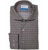 Bos Bright Blue Navy overhemd met print 7-04/0010